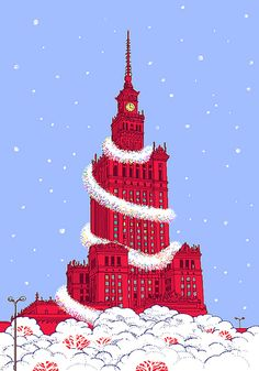 Agata Endo Nowicka  Warsaw Palace of Culture and Science - Christmas card for Polish Institute in Berlin