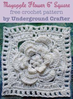 Free pattern: Mayapple Flower Square - http://undergroundcrafter.com/blog/2015/07/29/free-pattern-mayapple-flower-square/