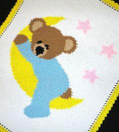 Crochet Stuff Bears Sleepy Bear on The Moon Baby Afghan Graph Pattern *easy - Graph Crochet, Crochet Vest Pattern, Tunisian Crochet, Crochet Stitch, Crochet Pouch, Crotchet Patterns, Knitting Patterns, Baby Afghan Patterns, Baby Afghans