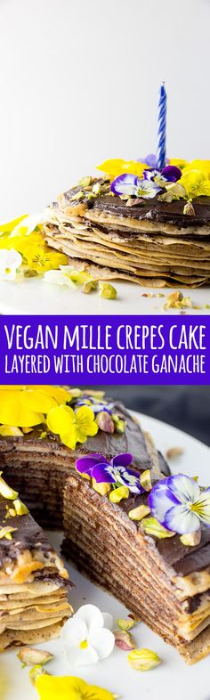 Layer upon layer of delicious vegan crepes and luscious chocolate ganache, mille crepes cake (or pancake cake) is an impressive dessert for a special occasion.