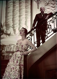Jean Chevalier 1949- Model Simone in Dior Couture House. Miss Dior Dress Spring-Summer 1949 Haute Collection