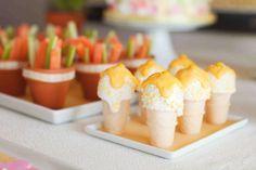 birthday party treats. veggies and dip. rice krispie ice cream cones