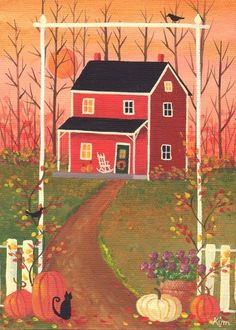 Welcome Autumn Cottage Folk Art Print by KimsCottageArt on Etsy