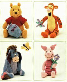 Crochet Doll Pattern, Crochet Toys Patterns, Stuffed Toys Patterns, Crochet Dolls, Doll Patterns, Crochet Baby, Crochet Disney, Eeyore, Tigger