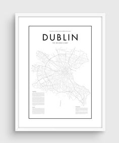 Affiche carte Dublin minime   LA QUALITÉ  Il sagit dune impression de haute…
