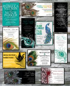 Different peacock themed wedding invites...