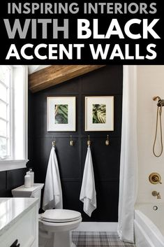 home accents walls Inspiring interiors with black accent walls and why you need this bold color in your home. Black accent walls for your bedroom, bathroom, home office, and living room. Accent Walls In Living Room, Minimalist Living Room, Black Accent Walls, Black Walls, Black Feature Wall, Black Living Room, Inspiration Wall, Black Bathroom, Living Room Accents