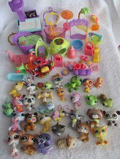 Huge Littlest Pet Shop Lot 90+ Items 30 Pets Bowls Accessories  #LittlestPetShop