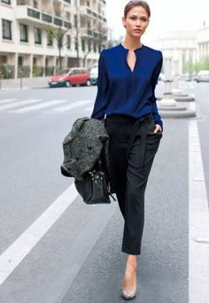 navy blue top and black pants