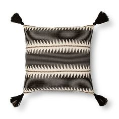 """Add a big impact of style with the Braided Throw Pillow (18"""") in Black from Threshold. This striped throw pillow has vivid designs with accenting tassels in the corners."""