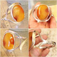 Bracelet made of silver 925 & Baltic Amber. For sale.