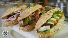 Excellent and nutritious, here are 3 sandwiches made with my last batch of whole-grain traditional French mini baguette: Jambon Beurre / Prosciutto Roasted M. Cuisinart Food Processor, Food Processor Recipes, Sandwich Platter, Dessert From Scratch, Bakery Decor, Aged Balsamic Vinegar, Healthy Sandwiches, Whole Grain Bread, Savoury Dishes