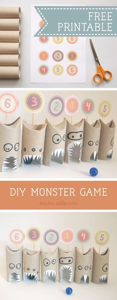 A fun monster game for kids, perfect for monster birthday parties or Halloween! Make monsters from toilet rolls and roll marbles to gain points! Kids just love making monsters and playing the game. Perfect for birthday parties Monster Party, Monster Birthday Parties, Lego Birthday Party, Birthday Kids, Paper Crafts For Kids, Craft Activities For Kids, Diy For Kids, Fun Crafts, Craft Ideas