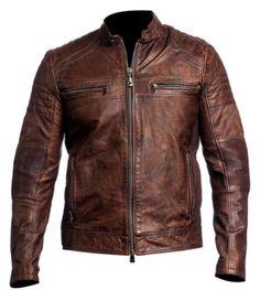Men's biker vintage moto marron vieilli cafe racer leather jacket