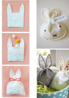 DIY des idées pour emballer vos cadeaux de Pâques. Un joli lapin en tissus facile à réaliser.  Mademoiselle Claudine.