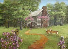 Hickory Tavern Deer log cabin purple clematis Flower Folk Art Print Arie Taylor #Americana