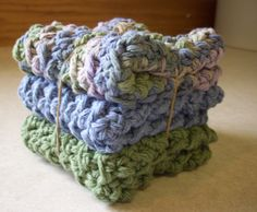 Cotton Crocheted Washcloths in Green and Blue by roadstoeverywhere, $7.50