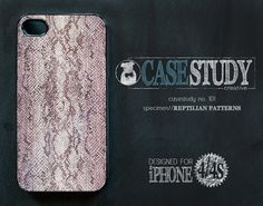 """CASESTUDY No. 101 - """"Reptilian Patterns"""" case for iPhone 4/4S.  As sly as a snake in the grass.   The scientists here at the CASESTUDY scientific research facility (that's a fancy schmancy term for fun-loving, creative shop) are totally inspired by all things reptilian. In our humble studio, we've extracted the design DNA from vintage books on slithering serpents and the haute reptilian patterns on the runway to create this lovely smart-phone case."""