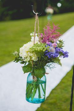 wildflower mason jar pew marker