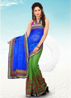 Unique Blue & Lime Green Embroidered #Saree #clothing #fashion #womenwear #womenapparel #ethnicwear