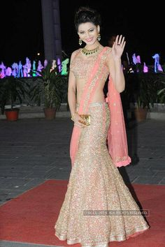 Urvashi Rautela stuns in designer Jyotsna Tiwari outfit nicely paired with Golecha jewels at the wedding reception of Tulsi Kumar and Hitesh Ralhan, held at Sahara Star, on March 2015 (BCCL/Prathamesh Bandekar)See more of : Urvashi Rautela Indian Wedding Outfits, Bridal Outfits, Indian Outfits, Bridal Dresses, Indian Clothes, Bridal Lehenga Choli, Saree Dress, Lehenga Blouse, Indian Attire