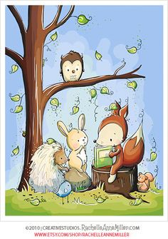Adorable woodland friends reading. Perfect for a nursery or children's bedroom. Illustration by Rachelle Anne Miller