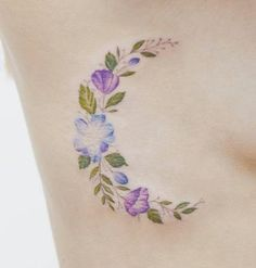 Floral crescent moon tattoo by Tritoan Ly