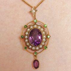 Antique 9ct Gold Amethyst, Demantoid Garnet & Pearl Suffragette Holbein Necklace