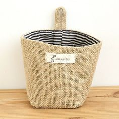 YEDAYS Essentials Mini Linen Cotton Storage Basket Woven Basket Collapsible Convenient Storage Bin for Door Keys Small Stuff (B1)