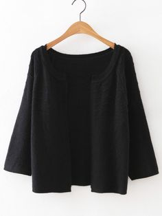 Buy Black Collarless Wave Cardigan Knitwear from abaday.com, FREE shipping Worldwide - Fashion Clothing, Latest Street Fashion At Abaday.com