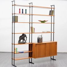 Filigree 1960s shelving system with container, teak - www.velvet-point.com