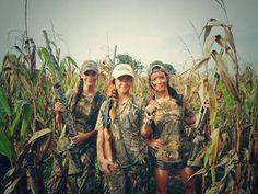 """Thata Gals"" Camo Girls in the corn field huntin' pheasant."