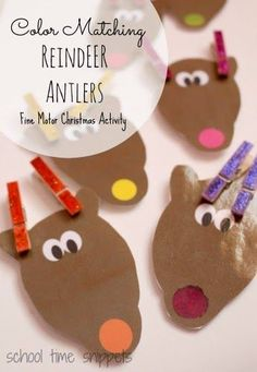 Color Matching Reindeer Clothespin Activity-- perfect for Tots and/or PreK! Simple yet festive activity. Printable Reindeer Face Template included!