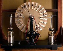 Wimshurst influence machine is an electrostatic generator, a machine for generating high voltages developed between 1880 and 1883 by British inventor James Wimshurst (1832 – 1903)