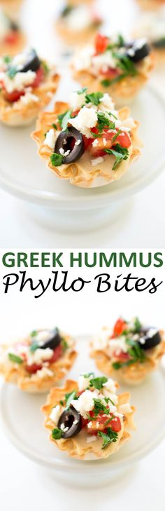 Quick and Easy Healthy Greek Hummus Phyllo Bites. Layered with creamy hummus, cherry tomatoes, olives, feta and parsley. Served in mini phyllo cups. Greek Appetizers, Quick And Easy Appetizers, Cold Appetizers, Finger Food Appetizers, Appetizers For Party, Phyllo Appetizers, Party Snacks, Christmas Appetizers, Christmas Recipes