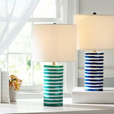 Lighting - With the free-flowing look of hand-painted watercolor, the stripes on this ceramic lamp base have a lively, organic feel.