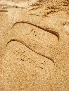 """""""Just married"""" footprints in the sand on your honeymoon. They sell the sandals at Michaels for under 6 dollars www.thebrighterwriter.blogspot.com"""