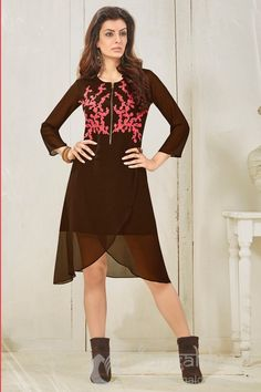 Brown Colored Georgette Kurti. For more information :- Call us @+919377222211 (Whatsapp Available)
