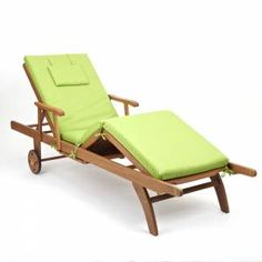 Amalfi fully adjustable hardwood Sun Lounger with Light Green Cushion £169.99