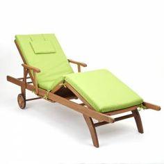 Amalfi fully adjustable hardwood Sun Lounger with Light Green Cushion £169.99