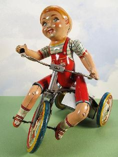 icollect247.com Online Vintage Antiques and Collectables - Kiddy Cyclist Windup Tin Toy Unique Art 1930s Toys-Wind ups