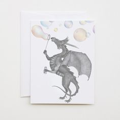 Oakley Okeechobee Dragon by lecanotrouge.  Note or Greeting Card for giving or keeping (the perfect size and price for framing in a fun little art collection!)