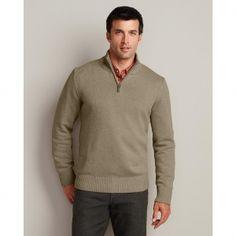 @Eddie Bauer #Men's Solid Signature Cotton Quarter-Zip #Sweater $44.95 via Catalog Spree!