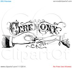 Clipart Vintage Black And White Wedding Ceremony Sign With Hands Exchanging Rings - Royalty Free Vector Illustration by Prawny Vintage
