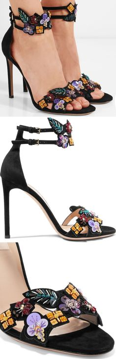 Valentino's sleek sandals have been crafted in Italy from black suede to make the colorful flowers, leaves and geometric shapes stand out all the more. Each one is intricately made up of paillettes and beads that are carefully threaded together.