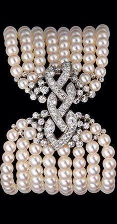 Diamond, Pearl, and Platinum bracelet by Cartier
