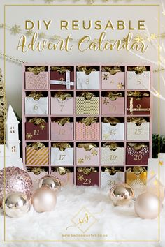 Glam Pink & Gold Reusable DIY Advent Calendar - Swoon Worthy - - Not into your traditional Christmas decor? You'll love this super easy GLAM DIY Advent Calendar that uses plenty of pink & gold! Get the tutorial here! Reusable Advent Calendar, Advent Calendar Boxes, Advent Box, Homemade Advent Calendars, Advent Calendars For Kids, Kids Calendar, Advent Calenders, Calendar Ideas, Christmas Countdown