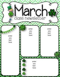 Newsletters for March for your classroom! Patrick's Day, Let's read, and a reading cactus newsletter.I hope you enjoy using these newsletters and please leave some awesome feedback! Class Newsletter, Preschool Newsletter, Classroom Newsletter Template, Newsletter Templates, Preschool Lesson Plans, Free Preschool, Preschool Kindergarten, Preschool Worksheets, Montessori Elementary