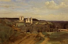 View of Pierrefonds, 1834 by Camille Corot. Realism. landscape. Musee des Beaux Arts de Quimper, Quimper, France