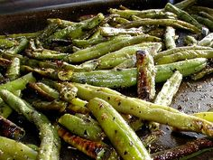Roasted seasoned green beans - frozen green beans, olive oil, garlic salt, and Italian seasoning. Bake for 20-25 minutes at 450 degrees.